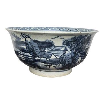 Blue & White Porcelain Bowl (Village)