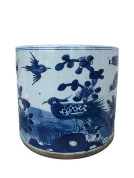 Blue & White Porcelain Planter (Birds)