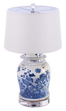 Blue & White Porcelain Temple Jar Lamp (Birds)