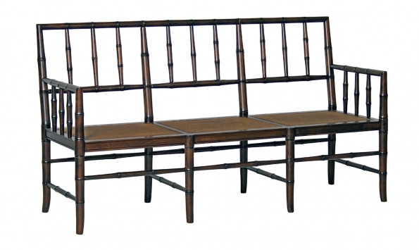 Faux Bamboo Black Bench