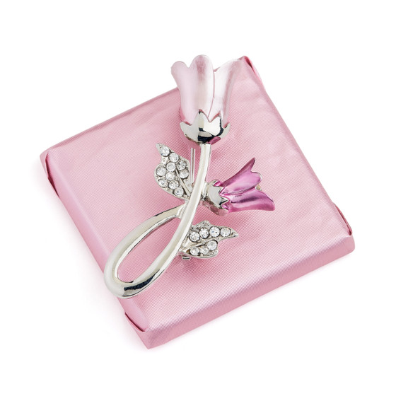 Decorated Chocolate Square Bar w/Tulip Brooch Silver Plated