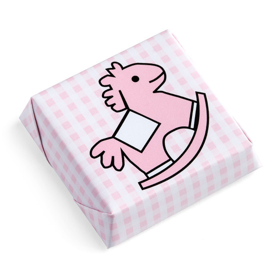 Rocking Horse Chocolate Squares Checkered Pattern Pink