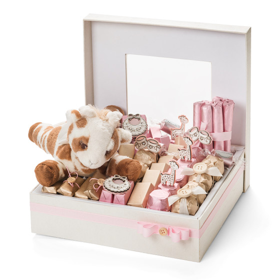 Giraffe Theme Baby Girl Chocolate Arrangement Box/1