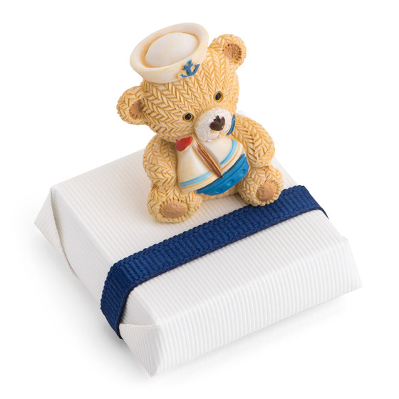 Square Chocolate with Sailor Bear Holding a Mini Boat-C