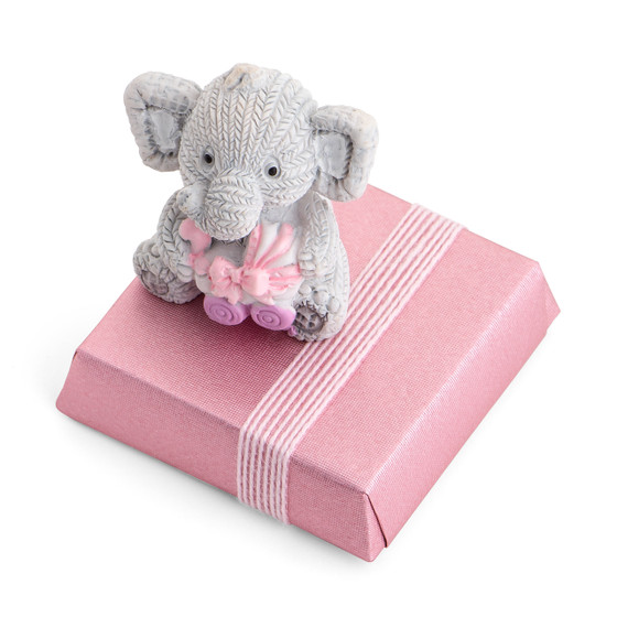Elephant Holding A Pink Baby Carriage On Chocolate Bar In