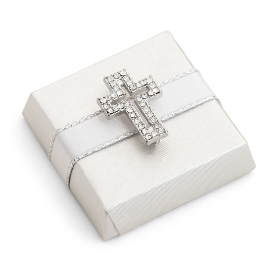 Decorated Chocolate Gold Wrap w/Rhinestone Cross-Silver