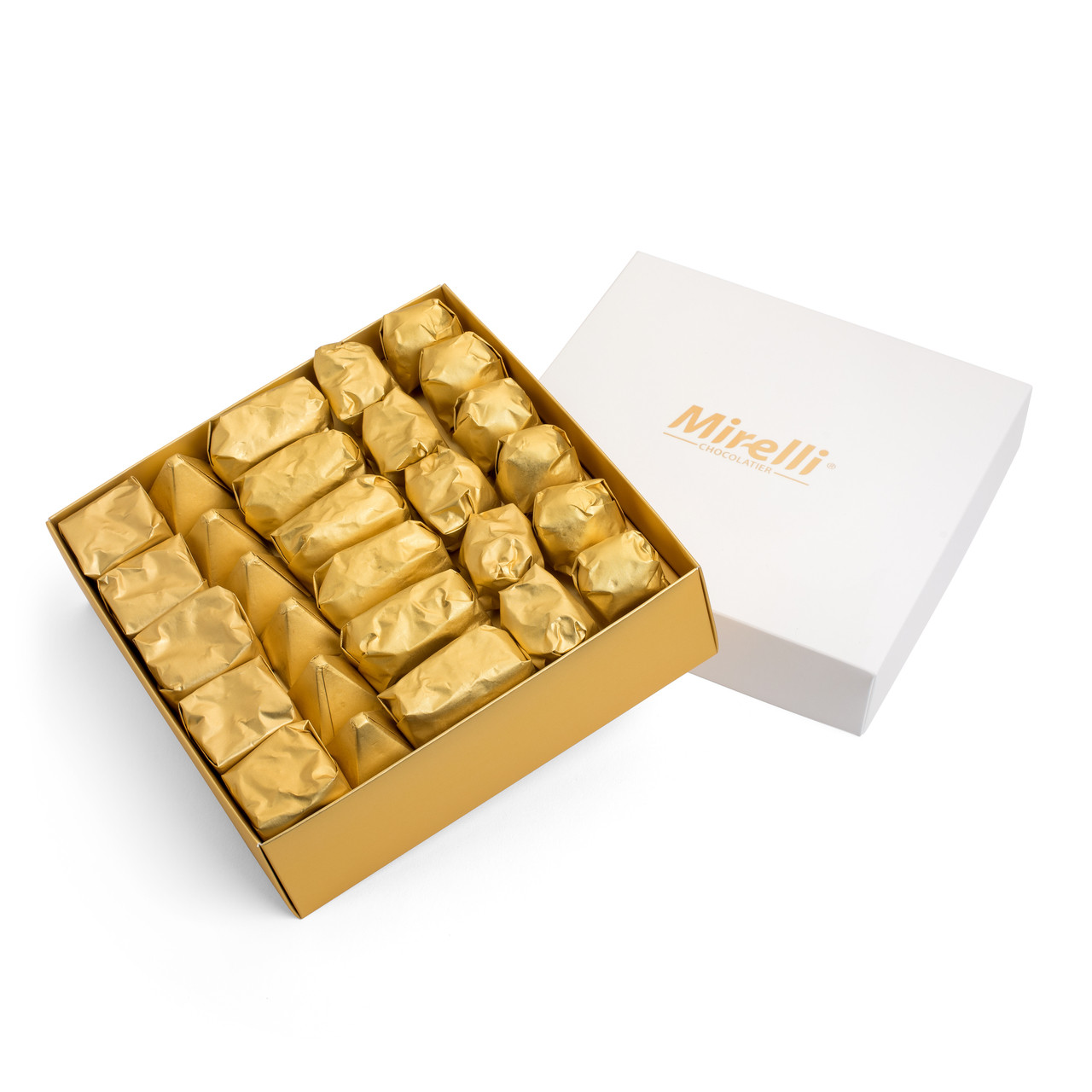 Premium Belgian Chocolate White Gift Box Gold Wrap