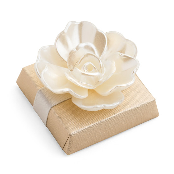 Pearlized Chanel Style Flower on a Square Chocolate Bar