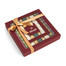 Burgundy target alternating bands on clear window. Alternating chocolate colors of burgundy, light green, champaigne, gold, and dark green
