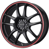 Drag Wheels DR-31 17x7 5x100 5x114.3 Flat Black w/ Red Stripe rims