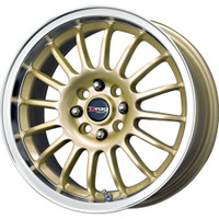Drag Wheels DR-41 15X7 4/100-114.3 Gold rims polished lip rims