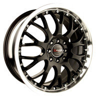 Drag Wheels DR-19 16x7 4x100 4x108 Gloss Black Machined Lip rims