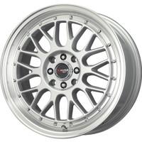 Drag Wheels DR44 15x7 4x100 4x114 Silver Machined Mesh rims