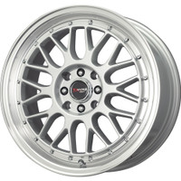 Drag Wheels DR44 17x7.5 5x100 5x114 Silver Machined Mesh rims