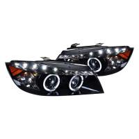 Junyan 06-08 Bmw E90 4D R8 Style Proj. Gloss Blk Smoke lens Headlights 2lhp-e9005g-8-tm
