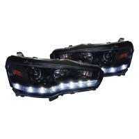 Junyan 08-12 Mitsubishi Lancer Pro Gloss Black W Smoke lens Headlights 2lhp-evo08g-8-tm