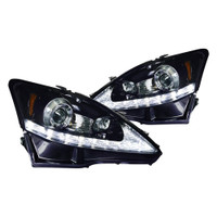 Junyan 06-09 Lexus Is 250 Projector Gloss Black W Smoke lens Headlights 2lhp-is25006g-tm