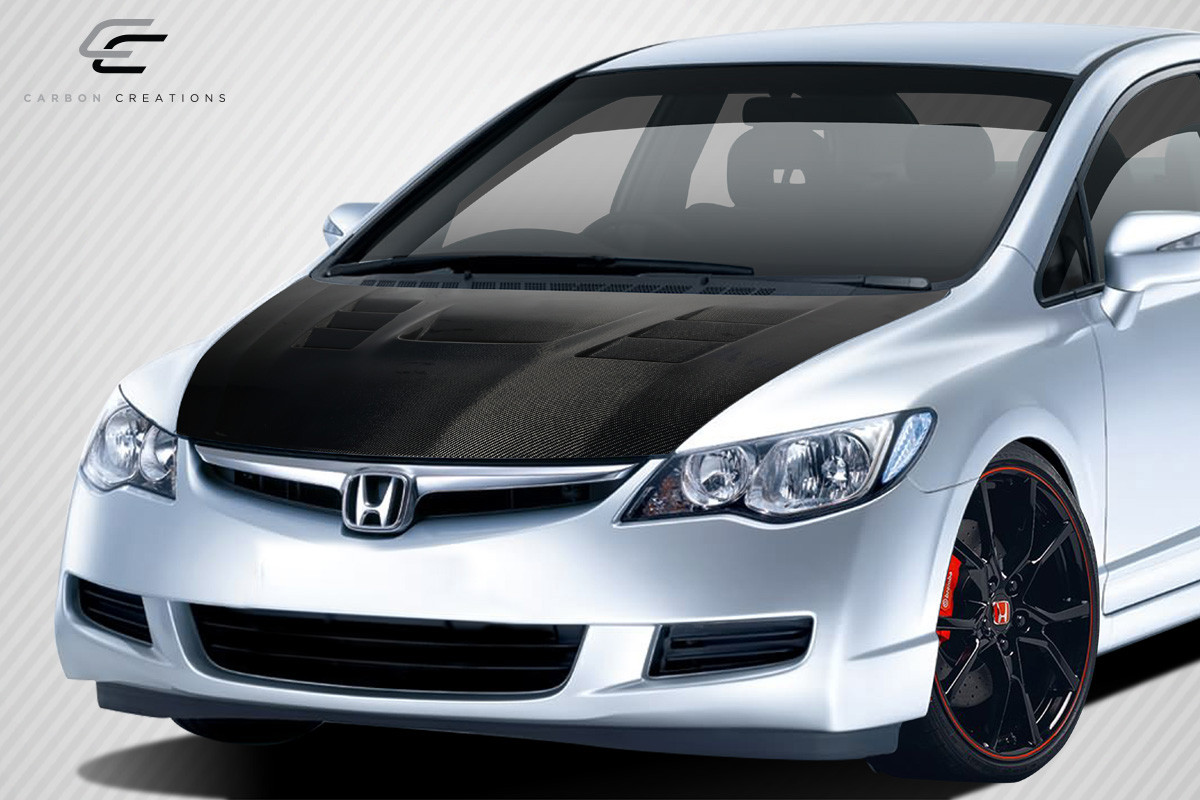 Carbon Creations 2006-2011 JDM Honda Civic 4DR DriTech Supremo Hood - 1 Piece