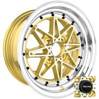 Drag Wheels DR-20 15x7 4x100 et10 Gold Machined Face rims