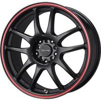 Drag Wheels DR-31 15x6.5 4x100 4x114.3 Flat Black w/ Red Stripe rims