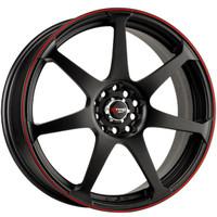 Drag Wheels DR-33 15x7 4x100 4x114.3 Flat Black w/ Red Stripe rims