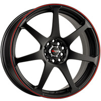 Drag Wheels DR-33 16x7 5x100 5x114.3 Flat Black w/ Red Stripe rims