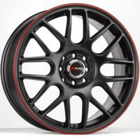 Drag Wheels DR-34 15x7 5x100 5x114.3 Flat Black w/ Red Stripe rims