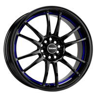 Drag Wheels DR-38 17x8 5x100 5x114.3 et35 Black w/ Blue Stripe rims