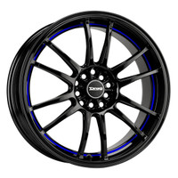 Drag Wheels DR-38 18x8 5x100 5x114.3 et35 Black w/ Blue Stripe rims