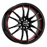 Drag Wheels DR-38 18x8 5x100 5x114.3 et47 Black w/ Red Stripe rims