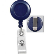 "BADGE REEL, BLUE, 1-1/4"" (32MM), PLASTIC CLIP-ON BADGE REEL, W/CLEAR VINYL STRAP, NO STICKER W/SLIDE-TYPE BELT CLIP (QTY 25) 2120-3032"