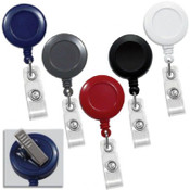 "BADGE REEL, SWIVEL BACK, PLASTIC, SPRING CLIP, 1 1/4"", CLEAR VINYL STRAP (QTY 100)  2120-760* CHOOSE COLOR"