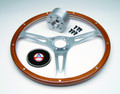 Steering Wheel Kit, 15'' mahogany wheel with hub, screws and cap