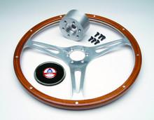 Steering Wheel Kit, 15'' mahogany wheel with hub, screws and cap