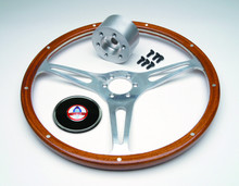 Pictured:  Steering Wheel Kit, 15'' mahogany wheel with hub, screws and cap (Part # 291-101M).