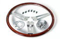 Pictured:  Steering Wheel & Ring, 16'' AC Cobra, mahogany rim, 6 bolt, polished (Part # 291-100C).