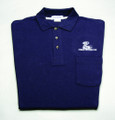 Shirt, polo short sleeve with pocket and snake logo, navy blue, large