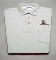 Shirt, polo short sleeve with pocket and snake logo, gray, large
