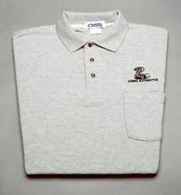 Shirt, polo short sleeve with pocket and snake logo, gray, large