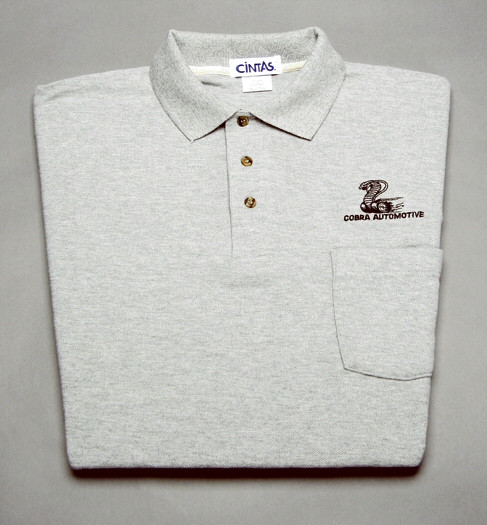 Shirt Polo Short Sleeve With Pocket And Snake Logo Gray X Large