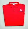 Shirt, polo short sleeve with pocket and snake logo, red, large