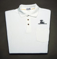 Shirt, polo short sleeve with pocket and snake logo, white, x-large