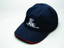 Hat, cotton-twill sandwich bill with snake logo and Cobra Automotive name, navy blue
