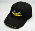 Pictured:  Hat, cotton-twill sandwich bill with checkered flag logo, black