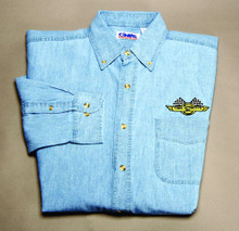 Shirt, denim long sleeve dress shirt, light blue, medium