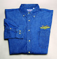 Shirt, denim long sleeve dress shirt, dark blue, x-large