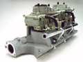 Pictured:  Dual Quad Intake Manifold, 2x4 BBL, 289-302, with carburetors, linkage, and fuel log.  NOTE:  Carburetors, linkage, and fuel log are not included with the manifold but are sold separately or as part of a complete kit (see Complete Dual Quad Carburetion Systems).