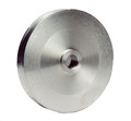 Pictured:  Pulley, Race, 5'' diam, Ford & GM 21/32'' shaft, aluminum, deep groove (Part # MOR64800).