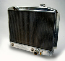 Pictured:  Radiator with heat exchanger (pass. side fill neck w/ no recess; driver side inlet) rated for 600 hp (Part # 260-001R).