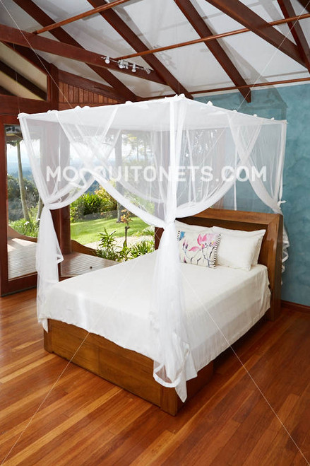 Deluxe box mosquito net on hidden curtain rod frame